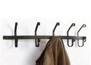 Village Wrought Iron CT-WH-5 Wall Mounted Wrought Iron Coat Rack with 5 Hooks