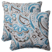 Pillow Perfect 504797 Outdoor Paisley Corded 18.5-Inch Throw Pillow in Tidepool - Set of 2 - Gray-Turquoise