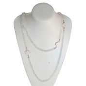 Zirconmania 655N-1CLR Clear Beaded Necklac with Enamel and Goldtone Flowers