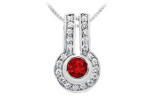 FineJewelryVault UBPD557W14DR-101 Ruby and Diamond Pendant : 14K White Gold - 1.25 CT TGW