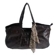 Blancho Bedding XXK177-COFFEE Charm Beauty Coffee Leatherette Double Handle Handbag Shoulder Bag Satchel Bag with A scarf