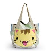 Blancho Bedding TOTEBAG001 Kitty Meow Hand-appliqued Fabric Art Shoulder Tote Bag / Shopper Bag