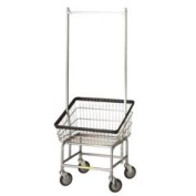 R & B Wire 200S56 Large Capacity Front Loading Wire Frame Metal Laundry Cart with Double Pole Rack - 3.75 Bushel Capacity - Chrome