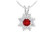 FineJewelryVault UBPD2494W14DR-110 Ruby and Diamond Flower Pendant : 14K White Gold - 0.75 CT TGW