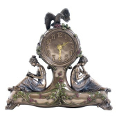 Unicorn Studios AN10483A4 Clover Mantel Clock with Two Ladies