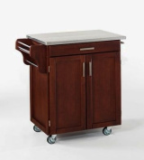 Home Styles 9001-0072 Cherry Wood Cart with Stainless Steel Top- Cherry