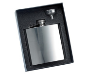Aeropen International GF-506 2 Pcs. Set - 180ml Shiny Silver Rimless Stainless Steel Flask and Funnel in Black Gift Box