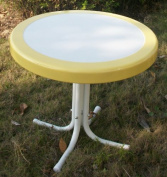 4D Concepts 71120 Metal Retro Round Table- Yellow and white metal