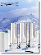 Crystal Quest CQE-CT-00119 Countertop Replaceable Triple Multi Ultra Water filter System Stainless Steel