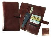 Raika NI 117 BROWN Snap Closure Travel Wallet - Brown