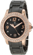 Charles-Hubert Paris 6789-BRG Rose-Gold Plated Stainless Steel Case Ceramic Band Black Dial Watch