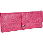 Budd Leather 290855-25 Pebble Grained Leather Jewel Roll - Pink