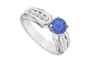 FineJewelryVault UBJS609AW14DS-101 Sapphire and Diamond Engagement Ring : 14K White Gold - 1.00 CT TGW - Size