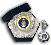 Sports Collectors Guild USAFD Us Air Force Insignia Picture On A 10cm Diamond Glass - Jewellery Box Included
