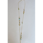Zirconmania 622N-0413TQ Goldtone Necklace with Geometric Shaped Crystals -36 inches