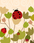 Green Leaf Art YS171110aP Green Leaf Plaque Art Ladybugs
