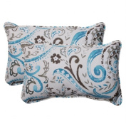 Pillow Perfect 504780 Outdoor Paisley Corded Rectangular Throw Pillow in Tidepool - Set of 2 - Gray-Turquoise