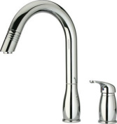 Whitehaus Collection WHUS492-PC 21.9cm . Metrohaus two hole faucet with independent single lever mixer, gooseneck swivel spout and pull-down spray head- Polished Chrome