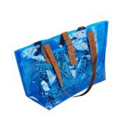 Blancho Bedding ZL618-BLUE Lucky Blue Leopard Double Handle Leatherette Satchel Bag Handbag Purse Casual Styling