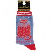 K Bell SOCKS-1104D Laurel Burch Socks-Crimson Cat