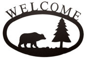 Village Wrought Iron WEL-83-S Small Welcome Sign-Plaque - Bear and Pine Tree