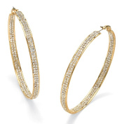 PalmBeach Jewelry 48487 Round Crystal 14k Yellow Gold-Plated Inside-Out Hoop Earrings 3 Diameter