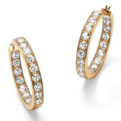 PalmBeach Jewelry 49741 9.50 TCW Round Cubic Zirconia 14k Yellow Gold-Plated Inside-Out Hoop Earrings