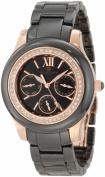Charles-Hubert Paris 6810-B Rose-Gold Plated Stainless Steel Case Ceramic Band Black Dial Multi-Function Watch