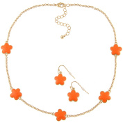 Zirconmania 610S-255OR-16G Goldtone Orange Enamel Daisy Necklace and Earring Set -16 inches
