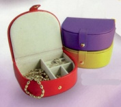Budd Leather 541010-13 Small Bowed Front Leather Jewel Box - Purple