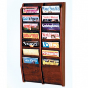 Wooden Mallet MR36-14MH Cascade 14 Pocket Magazine Rack in Mahogany