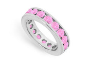 FineJewelryVault UB14WRD300PS14115-101 Pink Sapphire Eternity Band : 14K White Gold - 3.00 CT TGW - Size