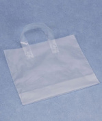 Bags & Bows by Deluxe H12CL Clear Frosted Economy Shoppers with 4 Bottom Gusset - Case of 250