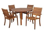 Amazonia Dining Furniture Arizona Eucalyptus Wood 5-Piece Rectangular Patio Dining Set SC_361_4CATA