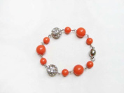 Alur Jewelry 18256CR Pearl and Crystal Ball Bracelet in Coral
