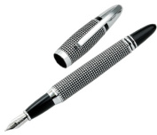Aeropen International CM-4210F Fountain Pen Satin Chrome Checker Design with Chrome Part