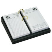 Dacasso A1041 Black Leather 3.5 in. x 6 in. Desktop Calendar Holder - Silver Bolts