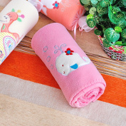 Blancho Bedding TB-BLK014-WHALE-29.5by39.4 White Whale - Pink Embroidered Applique Coral Fleece Baby Throw Blanket