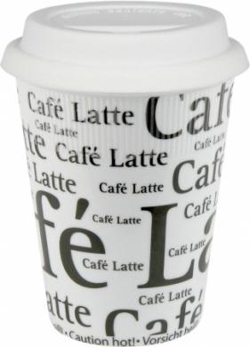 Konitz 41S2TM0647 Set of 2 Travel Mugs Cafe Latte Writing on White