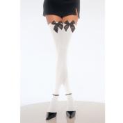 Leg Avenue White and Black Opaque Thigh High with Bow 6255LEG_WB White/Black