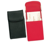 Lizard Grain Accessory Cowhide Flip Up Business Card Case in Black