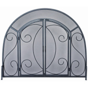 Uniflame S-1096 SINGLE PANEL BLACK WROUGHT IRON ORNATE SCREEN WITH DOORS