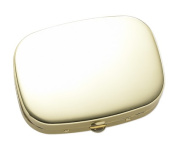 Aeropen International P-119G Shiny Gold Solid Cover with 3 Compartment Pill Box and Mirror