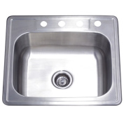 Kingston Brass GKTS25228 Gourmetier Studio GKTS25227 Self Rimming Single Bowl Sink Brushed Nickel