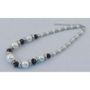 IWGAC 049-40137 Silver Tone Necklace with White Beads