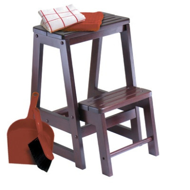 Winsome 94022 - Folding Step Stool - Walnut Solid - Composite Wood