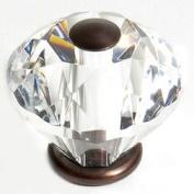 JVJHardware 36512 Pure Elegance 30mm - 1.19 in. - Diamond Cut 31 Percent Leaded Crystal Knob - Old World Bronze