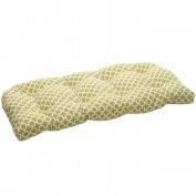 Pillow Perfect 450964 Outdoor Green-White Geometric Wicker Loveseat Cushion