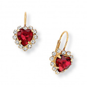 PalmBeach Jewelry 23829 Heart-Shaped Red Austrian Crystal Drop with White Crystal Accents Goldtone Metal Earrings