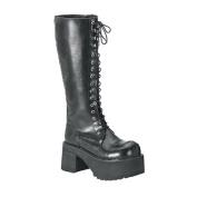 Demonia Ranger-302 3.5 Inch Platform Black Pump Knee Boots Size 10